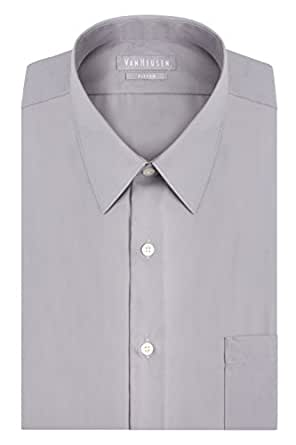 "G.H. Bass & Co. Van Heusen Men's Poplin Fitted Solid Point Collar Dress Shirt, Greystone, 17"" Neck 34""-35"" Sleeve"