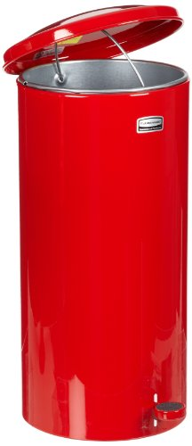 Rubbermaid Commercial FGST5EGLRD The Defenders Steel Step Trash Can with Galvanized Liner, 5-Gallon , (Galvanized Liner Bin)
