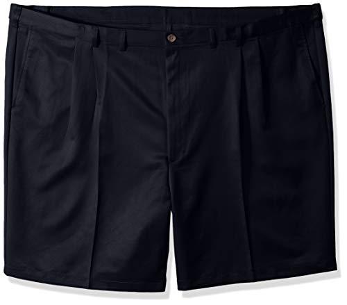 - Haggar Men's Big-Tall Cool Gabardine Pleat Front Short, Navy, 46