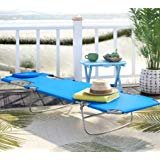 Gifford Folding Chaise Lounge Chair, Weather And Rust Resistant, Blue Review