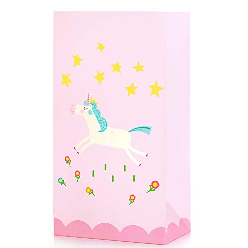 Hugo & Emmy Unicorn Party Favor Bags - Paper Goodie Bags for Girls Birthdays, Parties, and Events - 16 Pieces