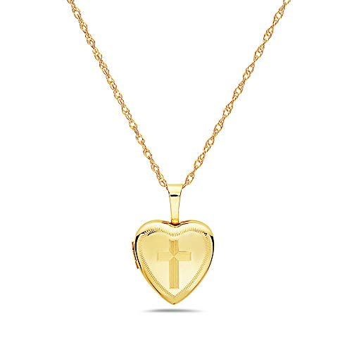 - Pori Jewelers 14K Solid Yellow Gold 12mm Heart Locket Pendant Necklace-in 14K Gold Rope Chain Available (16, Cross)