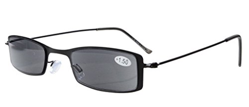 acero lectura eye new Sol de Grey Marco 2 lectores Gafas Eyekepper Half de inoxidable Lens 25 estilo qwz1aEX