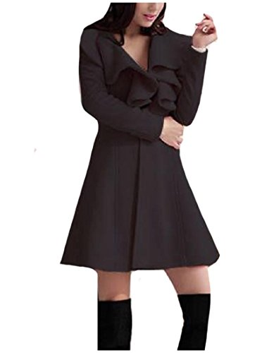 Ruffle Peacoat (Abetteric Women Solid-Colored Mid-Long Princess Ruffle Pea Coat Jackets Black XL)