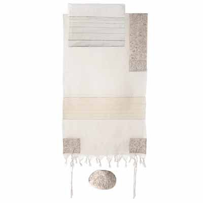 - Yair Emanuel Cotton Hand Embroidered The Matriarchs in Silver Tallit Prayer Shawl Set - Size 42