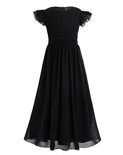 YiZYiF Girls' Kids' Flutter Sleeves Ruffles Bridesmaid Prom Gown Party Long Flower Girl Dress Black 14