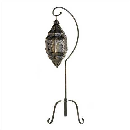 Gifts & Decor Tall Iron Moroccan Standing Metal Candle Lantern Stand (Lantern Stand)