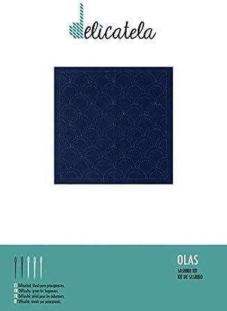 lange Nadel Stickanleitung | Naturgarn speziell f/ür Sashiko Sashiko Japanische Stickpackung Stoff 68 cm x 34 cm vorgedruckt von Delicatela Indigo 30 x 30 cm Wellen