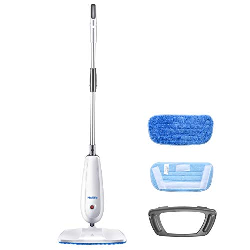 Holife Steam Mop Floor Steamer Cleaner, Tile and Hard Wood Floor Cleaner with 2 Microfiber Pads, Carpet Glider and Measuring Cup, Multipurpose Use for Cleaning Laminate/Hardwood/Tiles/Carpet (Best Steam Mop For Tile)