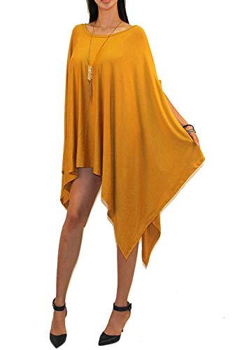 (Vivicastle Women's Loose Bat Wing Dolman Poncho Tunic Dress Top (one Size, Mustard))