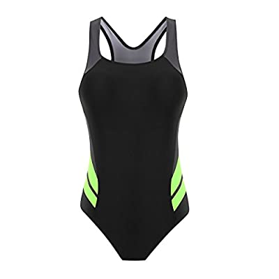 Clocolor Women's Plus Size Athletic Sport One Piece Boy-Leg Swimsuits Backless Splice One Piece Swimwear