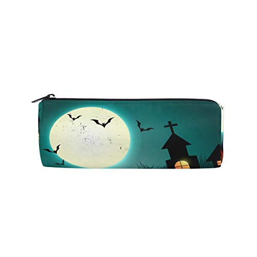 Pencil Case Exquisite Halloween Clip Art Zippered Pencil Box Round Stationery Bag Makeup Cosmetic Bag for Students/Women ()