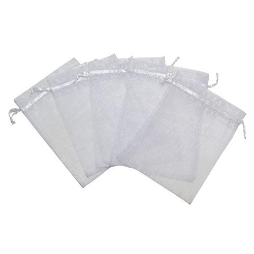 RakrisaSupplies 100Pcs White Organza Bags 4x6 inches w/Drawstring | Accurate Sizing, Reinforced Stitching & Crease Free Sheer Organza Pouches | OB46-01]()