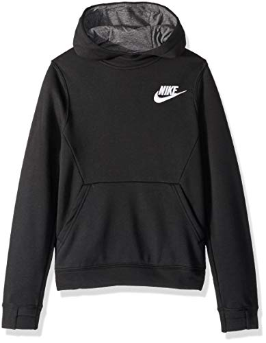 (NIKE Sportswear Boys' Club Pullover Hoodie, Black/Charcoal Heather/White, Large)