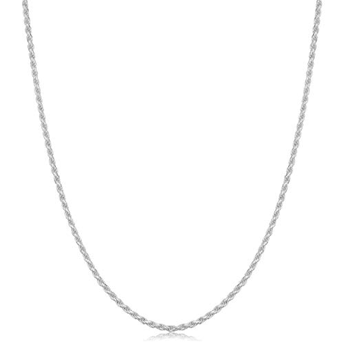 925 Sterling Silver Diamond-Cut Rope Chain Necklace (1.3mm, 18 inch)
