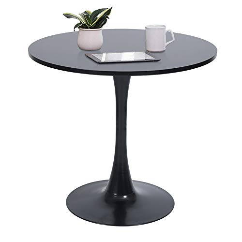 GreenForest Round Dining Table Mid-Century Modern Tulip Pedestal Leisure Table with Srong Metal Base, Black (Table Black Pedestal Dining Round)
