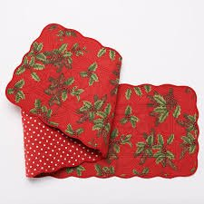 - St. Nicholas Square Christmas Quilted Reversible Fabric Table Runner Holly & Solid Red with White Polka Dots, 13 in x 54 in