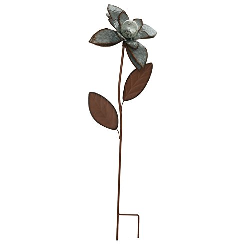 CEDAR HOME Galvanized Floral Garden Stake Outdoor Glow in Dark Plant Pick Water Proof Metal Stick Art Ornament Decor for Lawn Yard Patio, 12