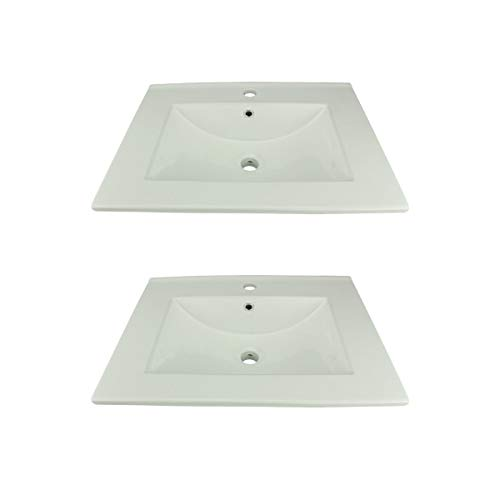 White Drop In Self-Rimming Square Bathroom Sink Grade A Vitreous China Scratch And Stain Resistant Set Of 2 Renovator's Supply