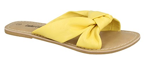 Leather Collection Women's Knot Flat Leather Mule Sandals Yellow I9FZj9