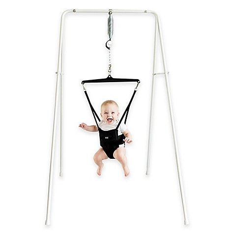 Jolly Jumper Exerciser with Portable Stand in White