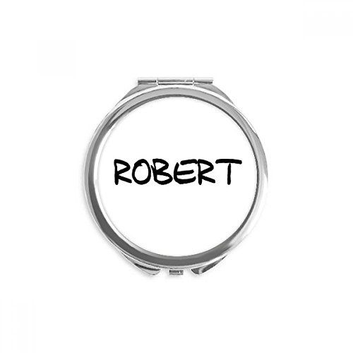 Special Handwriting English Name ROBERT Mirror Round Portable Hand Pocket Makeup