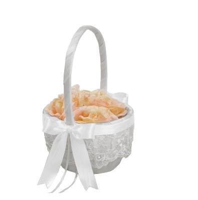 Beverly Clark Chantilly Lace White Flower Girl Basket With Custom Satin Ribbon Bow (WHITE)