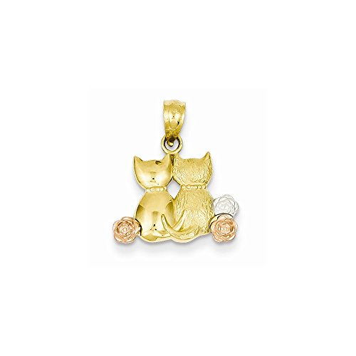 14k Yellow Gold & Rhodium Two-tone Cats Pendant (Cat Charm Yellow Gold)