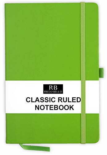 RICCO BELLO A5 Classic College Ruled Banded Notebook, Pen Loop, 192 pages, 5.7 x 8.4 inches (Lime)