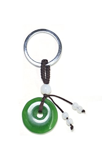 Rhodium Key (Chinese Feng shui deep green Jade Rhodium keychain or jade key ring---protections)