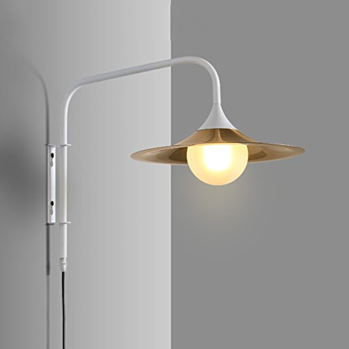 White Trumpet Glass Shade - C & S Iron Art Lighting Wall Lamp Long Arm Hotel Living Room Bedside Wall Lamp G9 Light Source Glass Lampshade Trumpet Lamp Body The Plug Button Switch