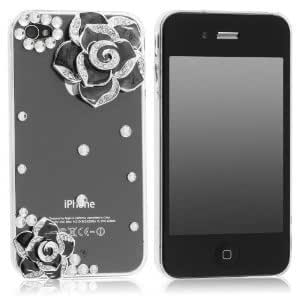 3d Bling Crystal Rhinestone Flower Transparent For Apple Iphone 5C Case Cover (Color: Black)