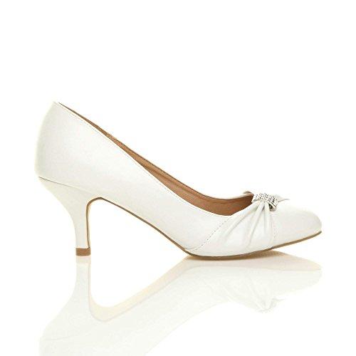 Ajvani Damen Mittlere Absatz Strass Abschlussball Abend Hochzeit Schuhe Pumps Größe Weiß Matt