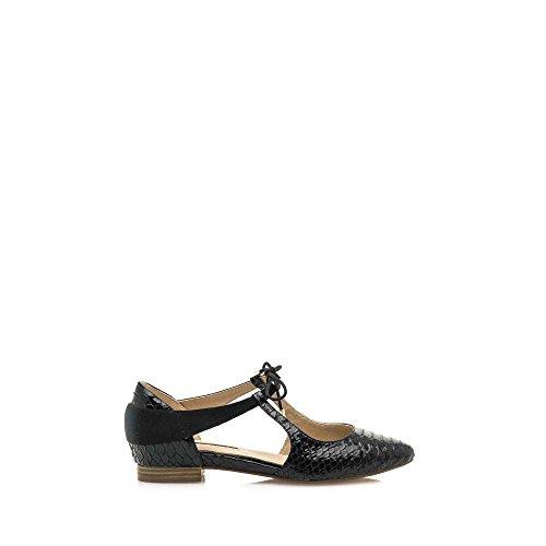 MARIA MARE Zapatos Abiertos Lateral, Tacón Plano, Color Negro, Charol Grabado, Pieza Terciopelo, Atado y con Suela Goma. Talla 39