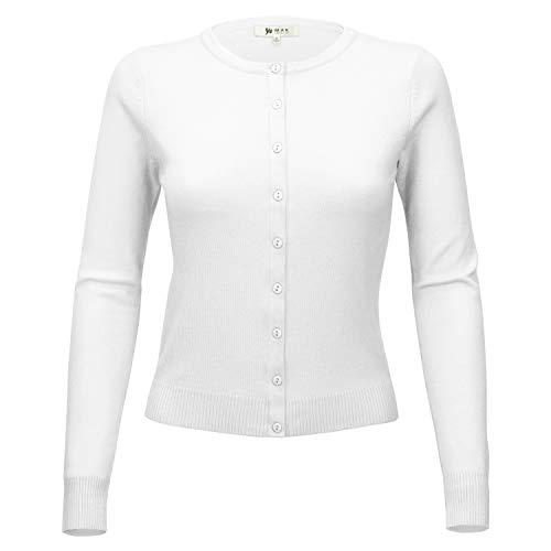 YEMAK Women Long Sleeve Crewneck Button Down Casual Soft Cardigan Sweater MK0179-WHT-M White