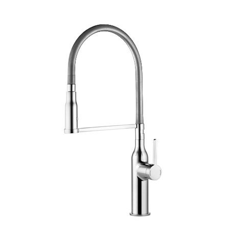 Single Kitchen Lever Faucet America (KCW 10.261.432.127 Sin Higflex Single Lever Kitchen Mixer With Pull-Down Spray, Splendure Stainless Steel)