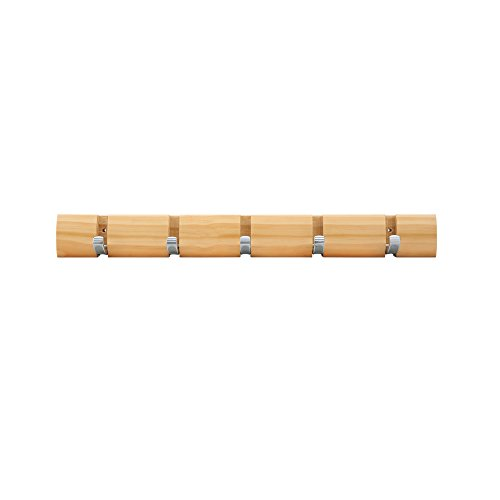 Mclife Wooden Material 18.9-Inch Invisible 5-Hook Hanger Coat Hook (Log color)