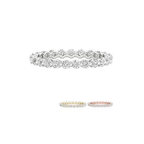 - IGI Certified 14k White Gold 1ct TDW Diamond Eternity Wedding Band (I-J, I2) (6)