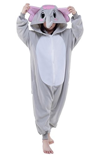 Newcosplay Unisex Children Gray elephant Pyjamas Halloween Onesie Costume (10-height 56-59