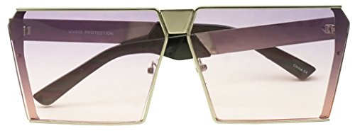 Super Cute Ovrsized Silve Square Womens Sunglasses with Light Purple Tint Gradient - Tint Gradient Sunglasses