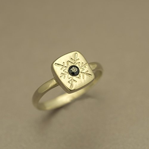 Handmade Designer Ring, Winter Snowflake Design, Gold Plated / Silver Square Statement Ring inlaid with a Colorful CZ, Sizes US 2.75-13