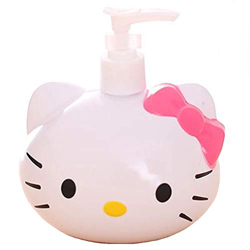 YOURNELO Cute Cartoon Hello Kitty Liquid Soap Shampoo Lotion Liquid Bottle Bathroom Accessory (Pink)