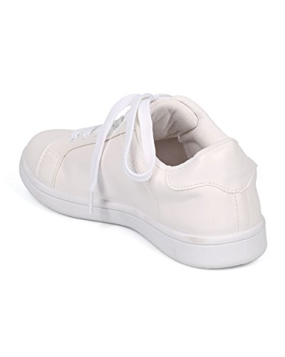 Alrisco Kvinner Veves Panel Sneaker - Lav Top Sneaker - Minne Skum Sneaker - Casual Hverdags Komfortabel Sneaker - Ha74 Av Vill Diva Samling Hvitt Lær