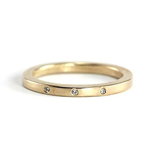 Three Stone Diamond Band - 14k Palladium White Gold, 14k Yellow Gold, 14k Rose Gold, 950 Palladium, Conflict Free Diamonds - Wedding Band, Engagement, Promise Ring - Handmade