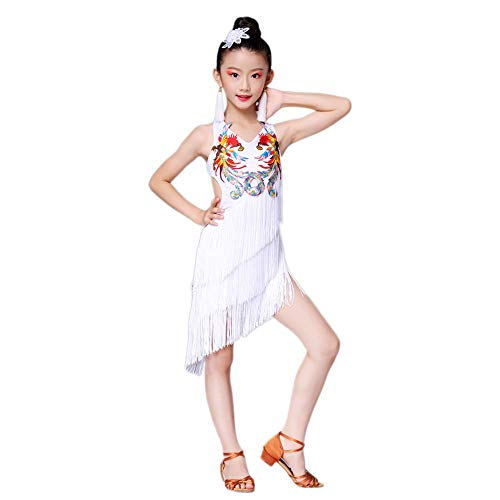 (Children's Dance Costumes, Girls Phoenix Tassels Latin Rumba Grading Dance Suits, Suitable for Stage Performances, National Standard Dance (110-170cm))