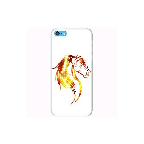Coque Apple Iphone 5c - Tête cheval tribal Feu