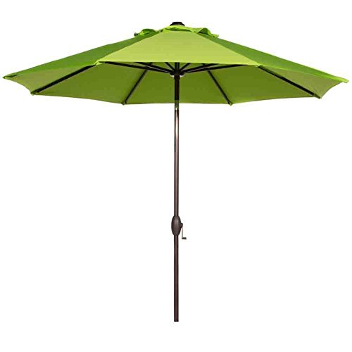 Abba Patio 9 Feet Patio Umbrella Market Outdoor Table Umbrella with Auto Tilt and Crank, 8 Ribs, Lime Green