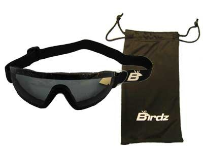 Birdz Eyewear Wing Goggles Smoke Lenses Skydiving Other Extreme Sports. 100% UV Protection, Antifog Coated, Adjustable Headstrap, Great Peripheral Vision Design, Comfortable Neoprene Foam Padding and Shatterproof Polycarbonate Lenses Microfiber Bag