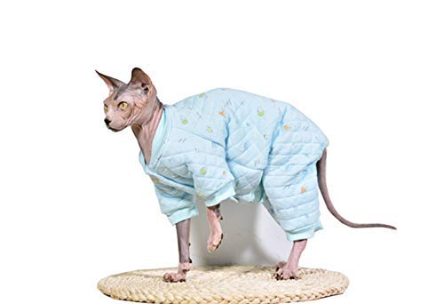 Khemn Designer Cat Warm Clothes Cat Sweater Jumpsuit Cat Pajamas with Thick Fleece-Best for Hairless Cat, 5 Colors (Blue, -