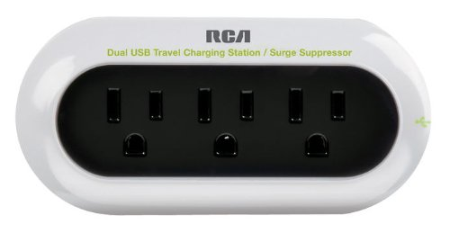 RCA PCHSTAT2R Portable Charging Station for Cell Phone, MP3, and other Electronics (White) by RCA